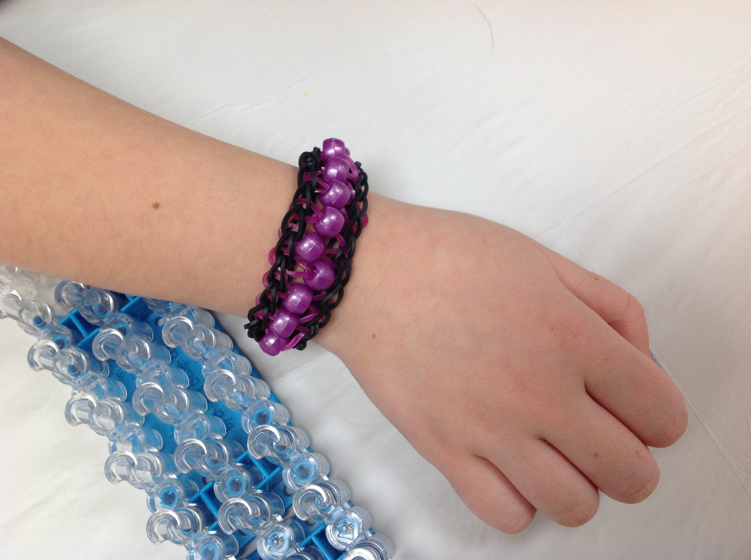 Black and Purple Bead Loom Bracelet