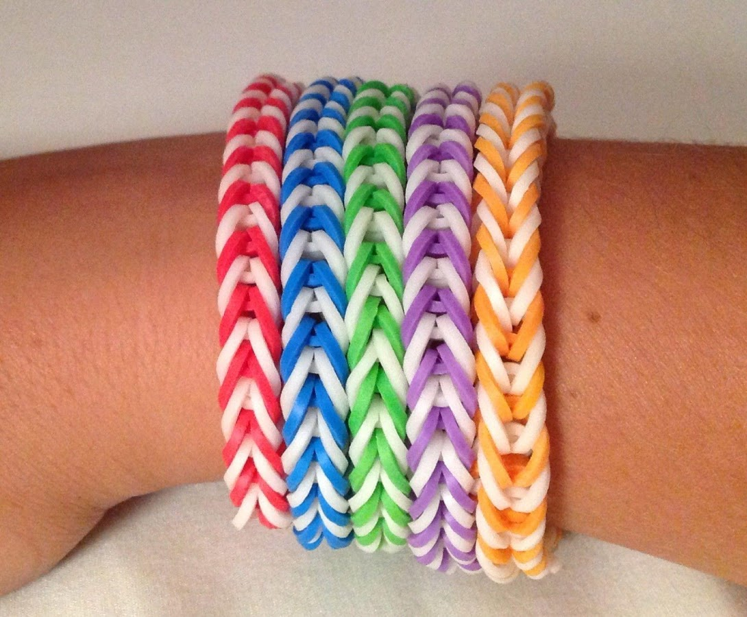 Cool Set of 5 Fishtail Loom Bracelets