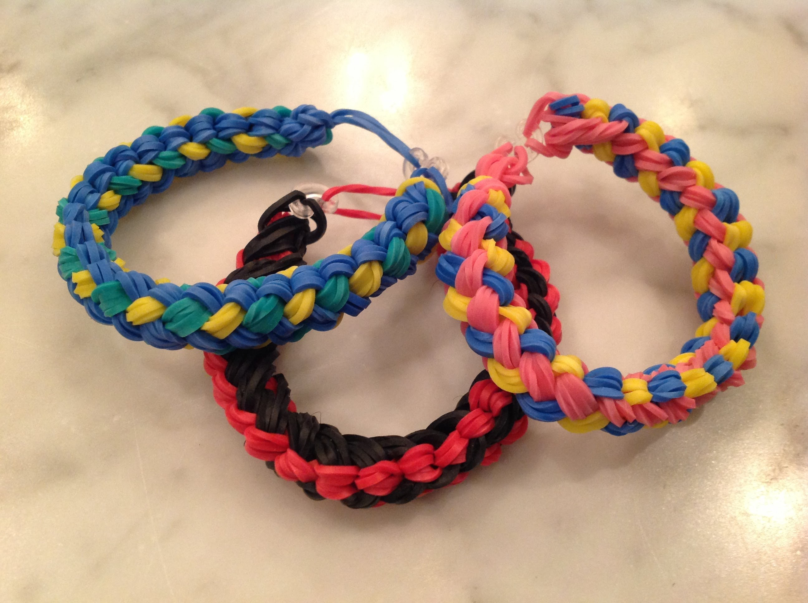 Set of Three Chunky Loom Bracelets