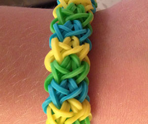 Chunky Blue,Yellow and Green Loom Bracelet